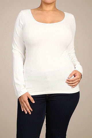 M. Rena Off White Plus Size Long Sleeve Scoop Neck Top