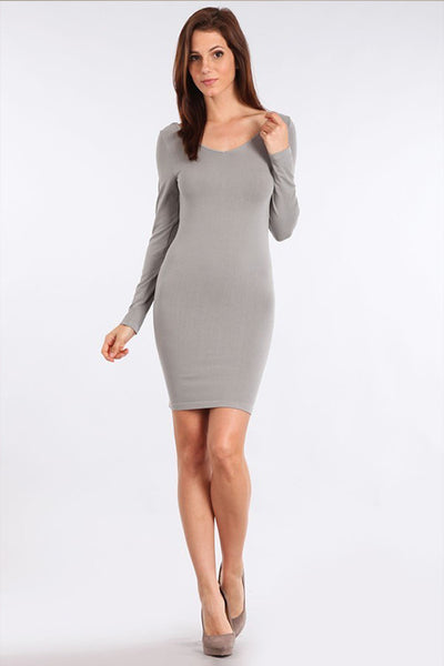 M. Rena Grey 17 V Neck/Scoop Reversible Neck Long Sleeve Dress