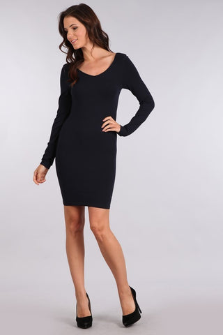 Reversible V-Scoop Neck Long Sleeve Dress