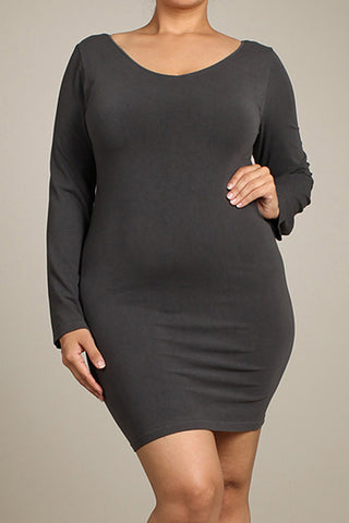M. Rena Dark Grey Plus Size V Neck/Scoop Reversible Neck Long Sleeve Dress