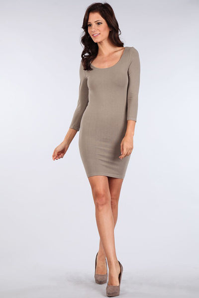 M. Rena Sandstone 3/4 Sleeve Dress
