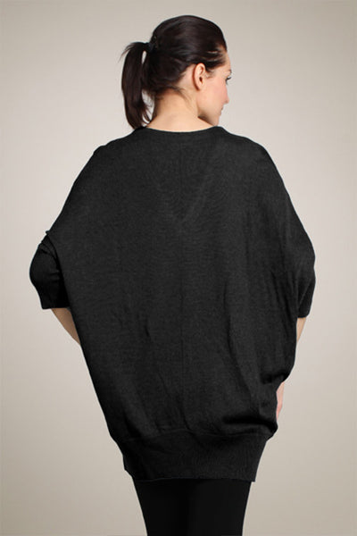M. Rena Black Lurex Dolman V-Neck Sweater