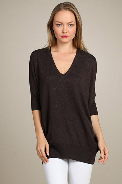 M. Rena Brown Lurex Dolman V-Neck Sweater