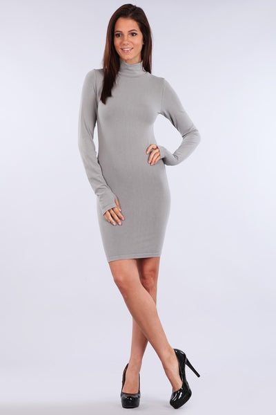 Mock Neck Dress with Thumb Holes