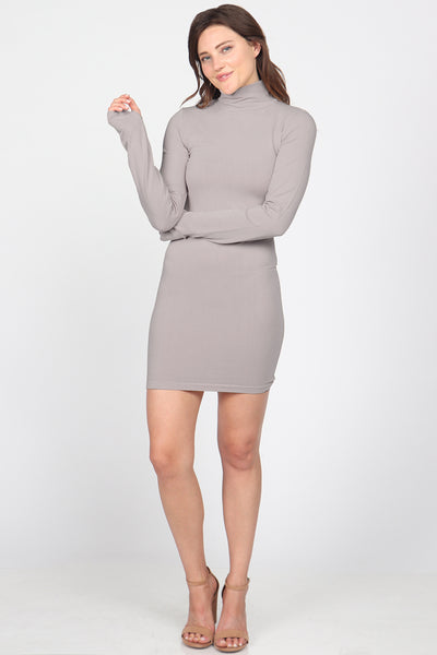 Mock Neck Dress with Thumb Holes - Colors