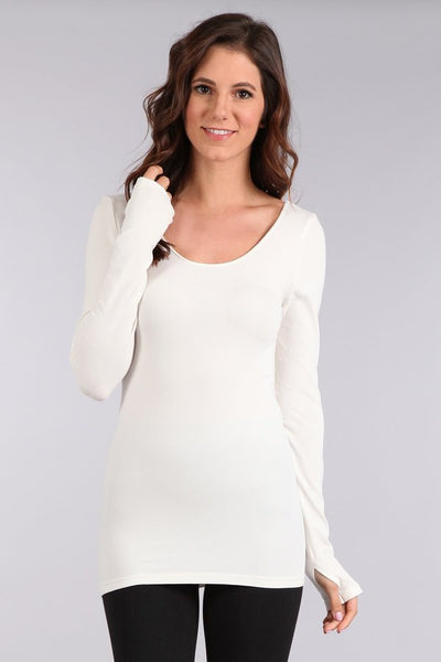 Long Sleeve Knit Top with Thumbholes