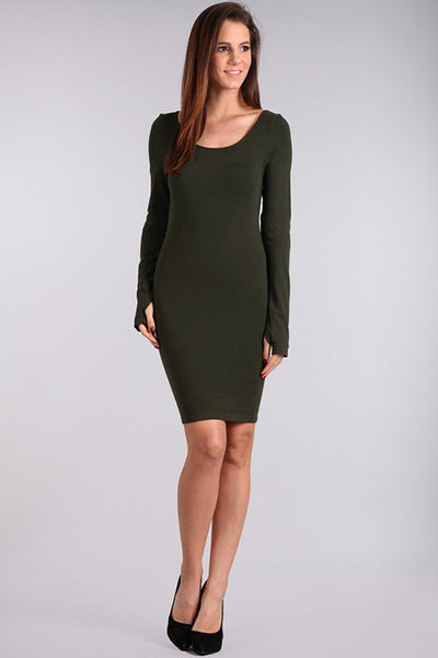 M. Rena Deep Olive Long Sleeve Dress w/ Thumbholes