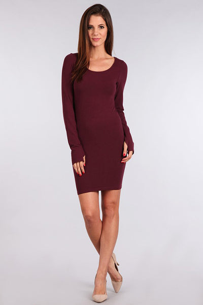 M. Rena Deep Wine Long Sleeve Dress w/ Thumbholes