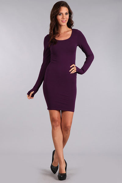 M. Rena Eggplant Long Sleeve Dress w/ Thumbholes