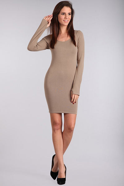 M. Rena Sandstone Long Sleeve Dress w/ Thumbholes