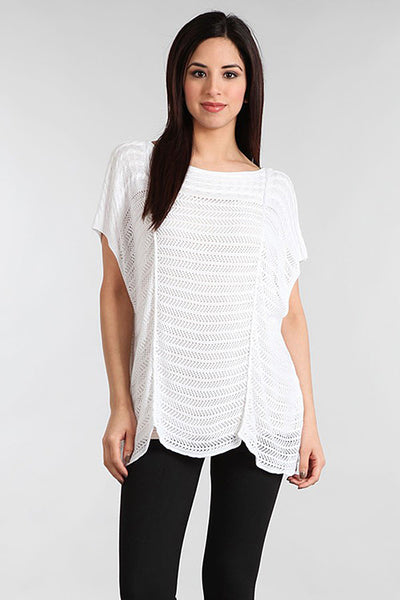 M. Rena White Boatneck Pointelle Top