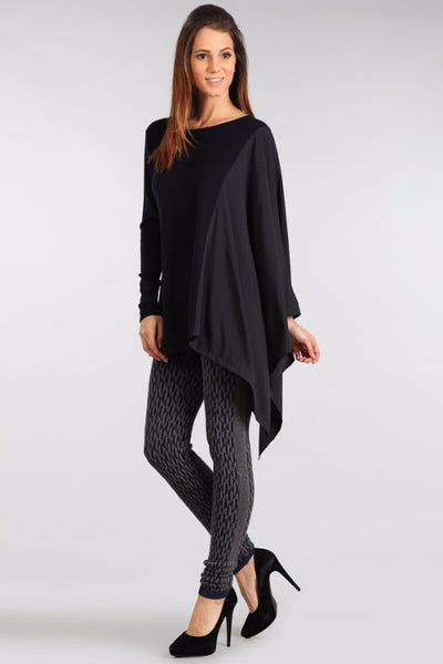 M. Rena Asymmetric Long Sleeve and Contrasting Chiffon Wing Top