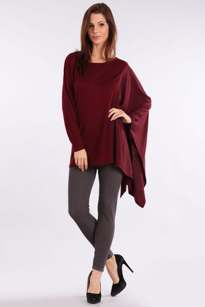M. Rena Burgundy Asymmetric Long Sleeve and Contrasting Chiffon Wing Top