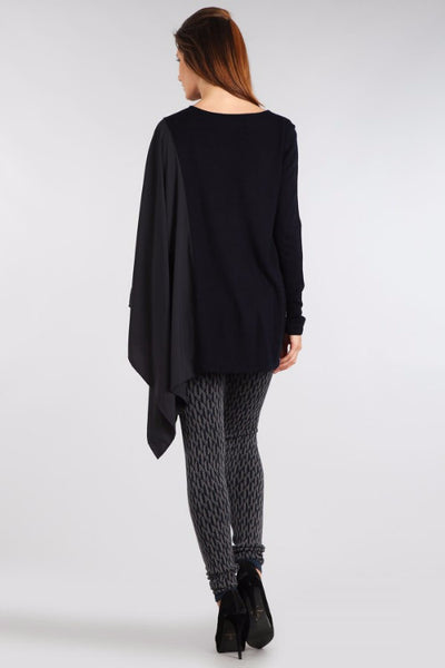 M. Rena Black Asymmetric Long Sleeve and Contrasting Chiffon Wing Top
