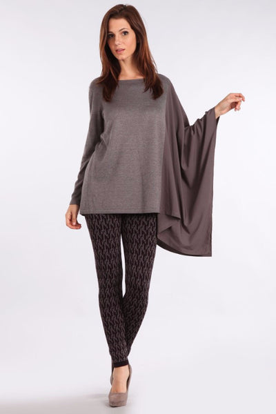 M. Rena Dust Grey Asymmetric Long Sleeve and Contrasting Chiffon Chiffon Wing Top