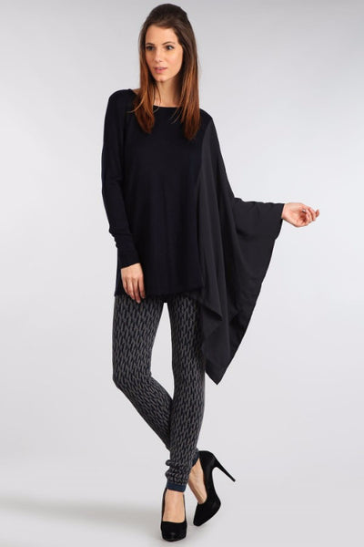 M. Rena Navy Asymmetric Long Sleeve and Contrasting Chiffon Wing Top