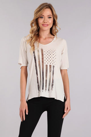 M. Rena Wind Chime Stars and Stripes Pima Cotton Graphic Tee