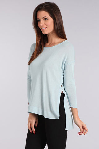 M. Rena Blue Belle 3/4 Sleeve Side Slit Sweater