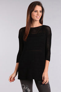 M. Rena Drop Shoulder Knit Tunic in Black