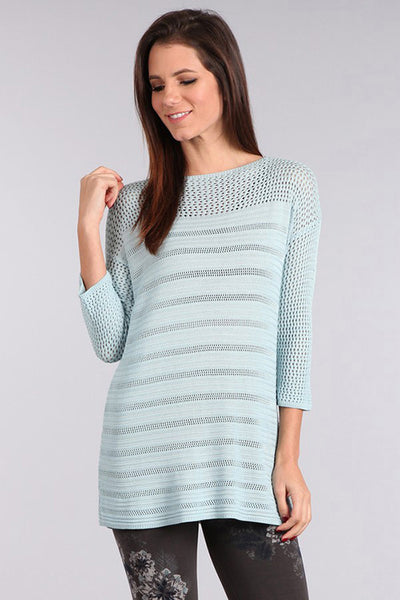 M. Rena Drop Shoulder Knit Tunic in Blue Belle