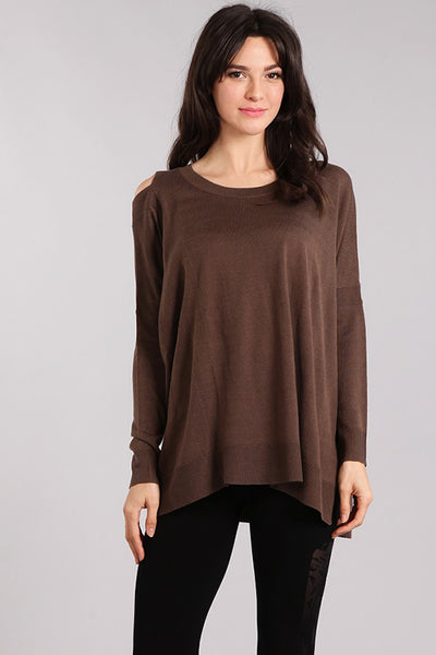 Asymmetrical Cold Shoulder Sweater Top
