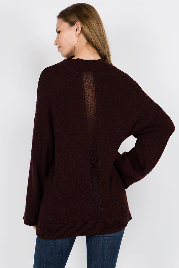Mock Neck Bouclé Sweater