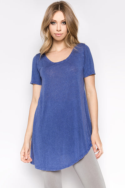 Antique Wash Rounded Hem Tee