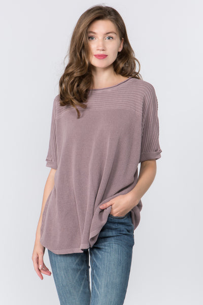 Ribbed Dolman Knit Top