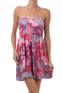 Strapless Dress with Watercolor Print