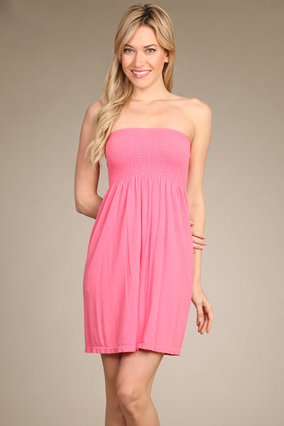 Smocked Strapless Babydoll Dress