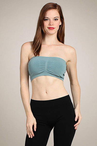 M. Rena Arctic Green Seamless Padded Bandeau Bra with removeable cups