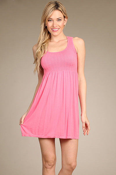 M. Rena Pink Lemonade Smocked Sleeveless Babydoll Dress
