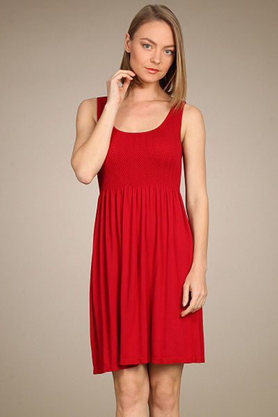 M. Rena Red Door Smocked Sleeveless Babydoll Dress