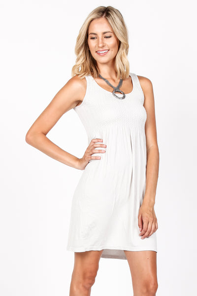 Smocked Sleeveless Babydoll Dress