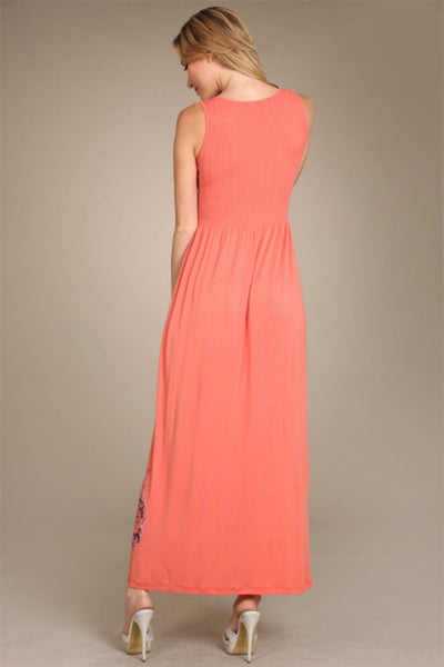 M. Rena Coral Spring Floral Sleeveless Maxi Dress