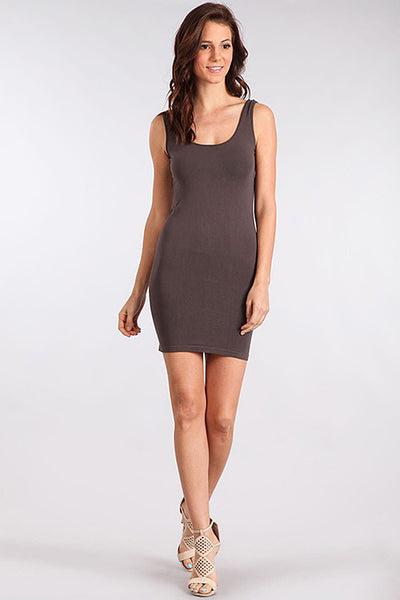 M. Rena Dark Grey Scoop Neck Tank Dress