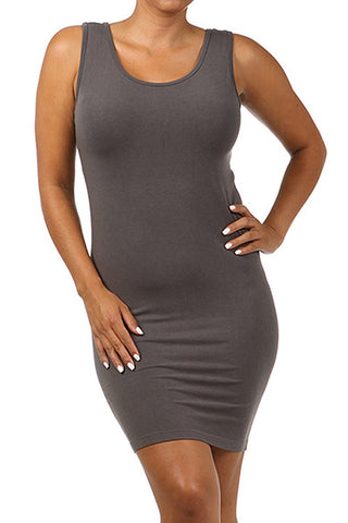 M. Rena Dark Grey Plus Size Scoop Neck Tank Dress