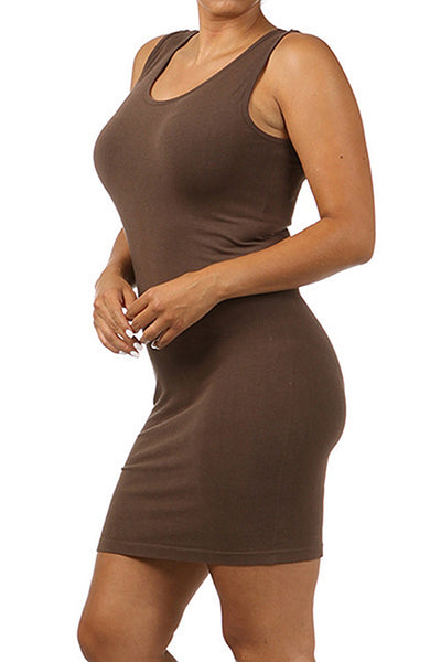 M. Rena Dark Brown Plus Size Scoop Neck Tank Dress