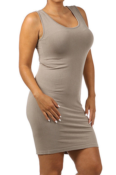 M. Rena Sandstone Plus Size Scoop Neck Tank Dress