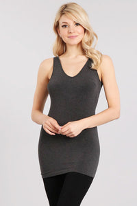 Heather Reversible V-Scoop Neck Tank