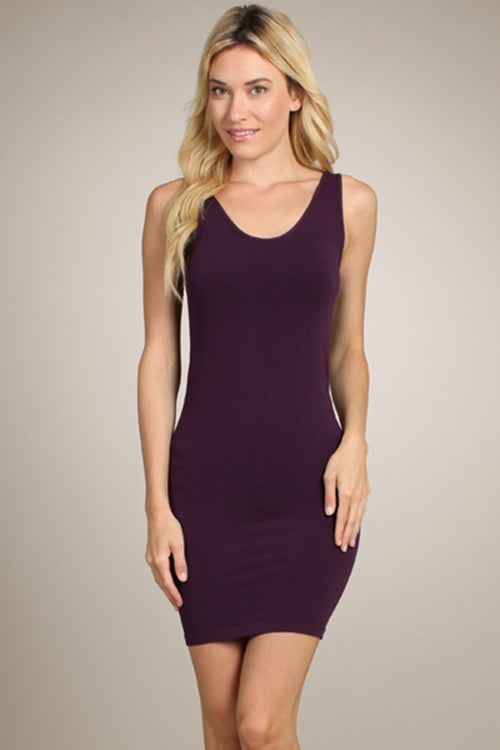 M. Rena Eggplant V Neck/Scoop Reversible Neck Tank Dress