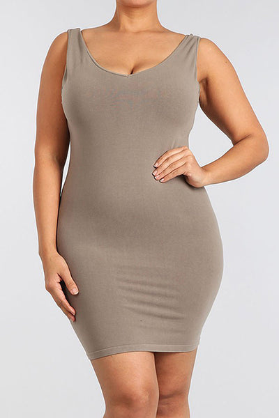 M. Rena Sandstone Plus Size V Neck/Scoop Reversible Neck Tank Dress