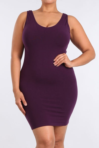Plus Size - Reversible V-Scoop Neck Tank Dress