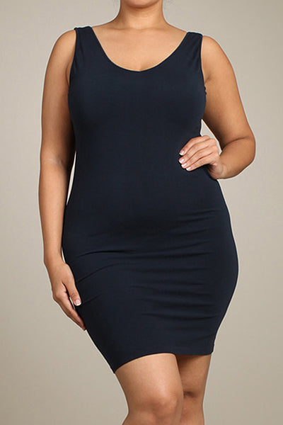 M. Rena Ink Plus Size V Neck/Scoop Reversible Neck Tank Dress