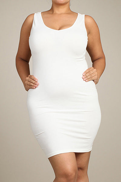 M. Rena Off White Plus Size V Neck/Scoop Reversible Neck Tank Dress