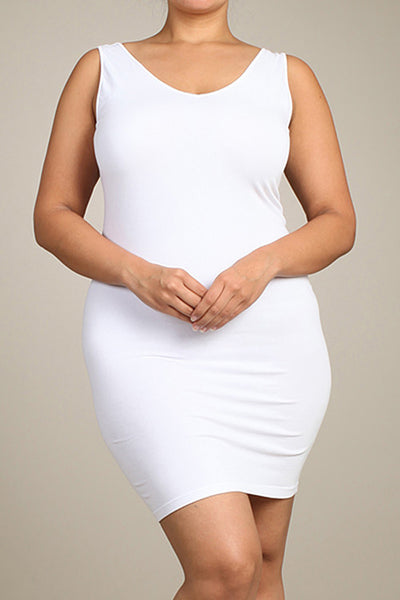 M. Rena White Plus Size V Neck/Scoop Reversible Neck Tank Dress