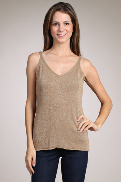 M. Rena Gold Metallic Tank