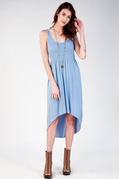 Smocked Hi-Lo Maxi Dress
