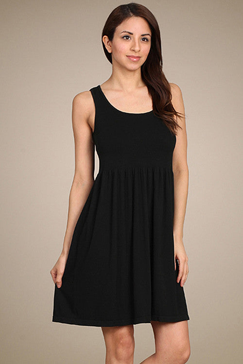 M. Rena Black Ribbed Sleeveless Reversible Neck Dress