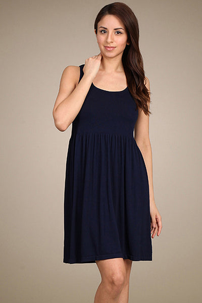 M. Rena Navy Blazer Ribbed Sleeveless Reversible Neck Dress